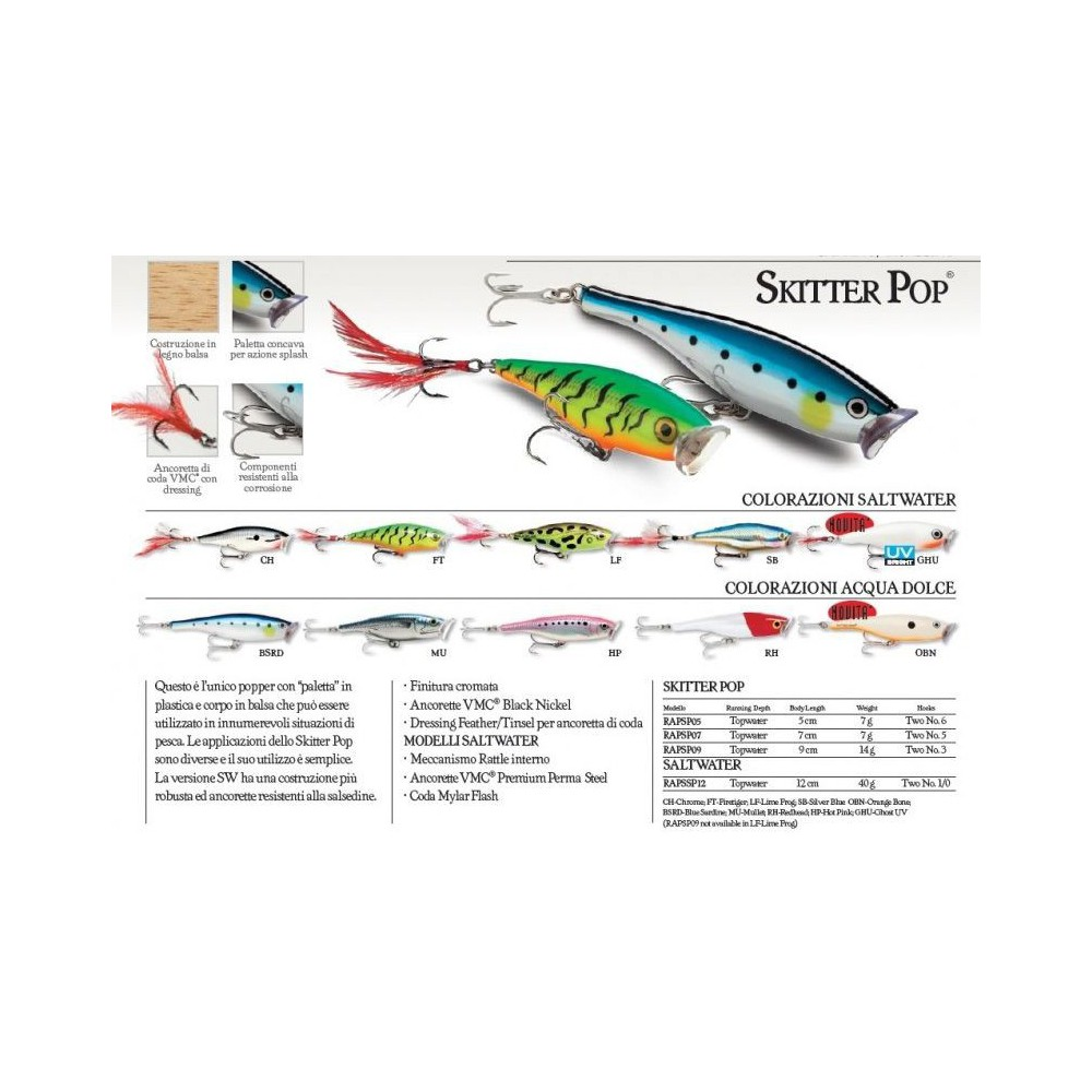POPPER RAPALA SKITTER POP TOP WATER 120 MM 40 GR