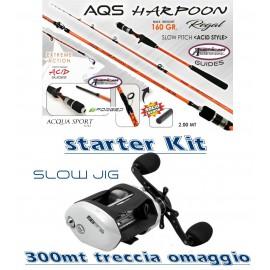 Combo Starter Kit Pesca Slow Jig Canna Acid Mulinello Rotante Treccia Omaggio